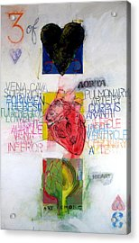 Acrylic Print featuring the painting Three Of Hearts 32-52 by Cliff Spohn