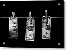 Three One Dollar Bill Banknotes Hanging On A Washing Line With Blue Sky Acrylic Print by Joe Fox
