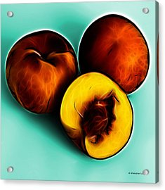 Three Peaches - Cyan Acrylic Print by James Ahn