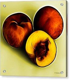 Three Peaches - Yellow Acrylic Print by James Ahn