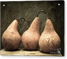 Three Pear Acrylic Print by Edward Fielding