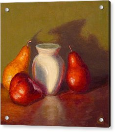 Acrylic Print featuring the painting Three Pears by Joe Bergholm