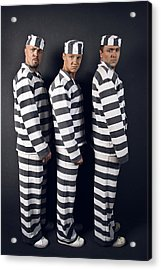 Three Prisoners. Group Of Men In Suits Of Convicts. Acrylic Print by Kireev Art