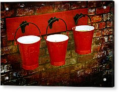 Three Red Buckets Acrylic Print by Svetlana Sewell