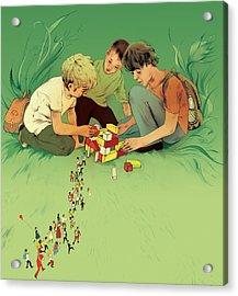 Three School Children Playing Acrylic Print by Maya Shleifer
