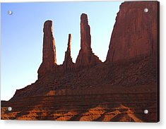 Three Sisters - Monument Valley Acrylic Print by Mike McGlothlen