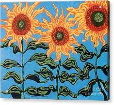 Three Sunflowers IIi Acrylic Print by Genevieve Esson