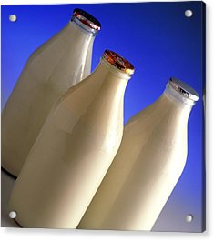 Three Types Of Bottled Milk Acrylic Print by Steve Horrell