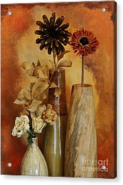 Three Vases Of Dried Flowers Acrylic Print by Marsha Heiken
