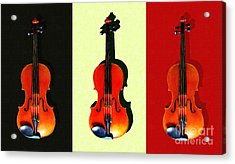 Three Violins . Painterly Acrylic Print by Wingsdomain Art and Photography