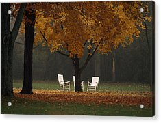 Three Welcoming Rocking Chairs Under An Acrylic Print by Paul Chesley
