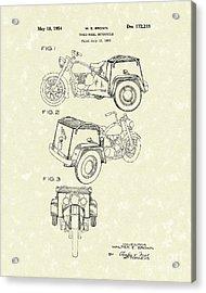 Three Wheel Motorcycle 1954 Patent Art  Acrylic Print by Prior Art Design