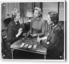 Three Women Playing Cards At Home, (b&w) Acrylic Print by George Marks