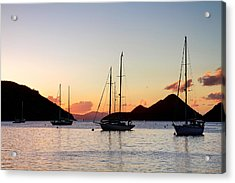 Three Yachts Silhouette Acrylic Print by Anya Brewley schultheiss