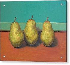Three Yellow Pears With Green Wall Acrylic Print by Yuki Komura