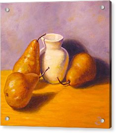 Acrylic Print featuring the painting Three's A Pear by Joe Bergholm