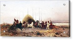 Threshing Wheat In New Mexico Acrylic Print by Thomas Moran