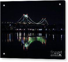 Acrylic Print featuring the digital art Throggs Neck Bridge by Dale   Ford
