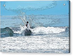 Acrylic Print featuring the photograph Through  The Wave Blues by Maureen E Ritter