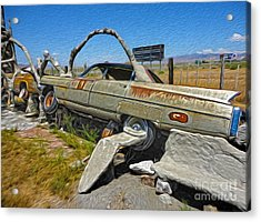Thunder Mountain Indian Monument - Car Wrecks Acrylic Print by Gregory Dyer