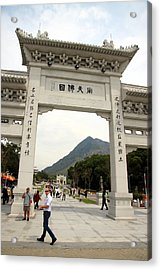 Tian Tan Buddha Entrance Arch Acrylic Print by Valentino Visentini