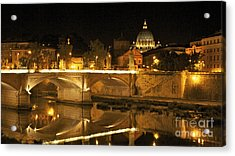 Tiber River And Ponte Vittorio Emanuele II Bridge With St. Peter's Basilica. Vatican City. Rome Acrylic Print by Bernard Jaubert