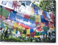 Tibetan Buddhist Prayer Flags Acrylic Print by Glen Allison