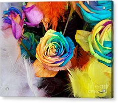 Acrylic Print featuring the photograph Tie Dyed Roses In Japan by Cheryl McClure