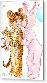 Acrylic Print featuring the drawing Tiger And Bunny In The Children's Parade by Dee Davis