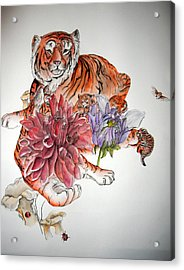 Acrylic Print featuring the painting Tigers The Color Of Orange by Debbi Saccomanno Chan