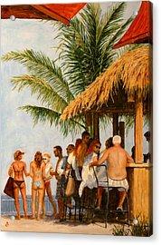 Acrylic Print featuring the painting Tiki Bar by Joe Bergholm