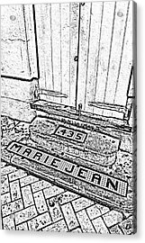 Tile Inlay Steps Marie Jean 435 French Quarter New Orleans Black And White Fresco Digital Art  Acrylic Print