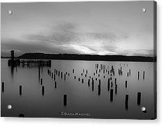 Tiltow Beach  In Black And White Acrylic Print by Sarai Rachel