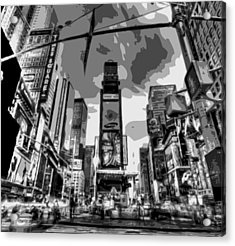 Time Square Bw6 Acrylic Print by Scott Kelley