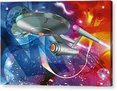 Time Travelling Spacecraft, Artwork Acrylic Print by Detlev Van Ravenswaay