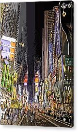 Times Square Abstract Acrylic Print by Robert Ponzoni