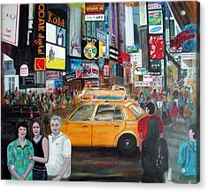 Acrylic Print featuring the painting Times Square by Anna Ruzsan