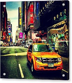 Times Square Taxi Acrylic Print