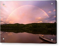 Timing Is Divine Rainbow Over Vermont Mountains Acrylic Print by Stephanie McDowell