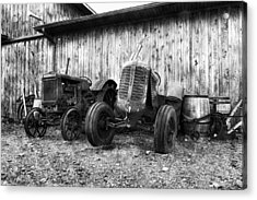 Tired Tractors Bw Acrylic Print
