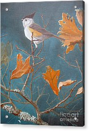 Titmouse Acrylic Print by Rick Mittelstedt