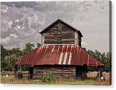 Tobacco Barn On Stormy Day Acrylic Print by Sandra Anderson