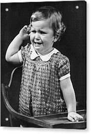 Toddler Crying In Her Highchair Acrylic Print by George Marks