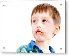 Toddler Eating Chocolate Acrylic Print by Tom Gowanlock