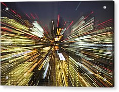 Tokyo Lights At Night A Zoom Effect Acrylic Print by Bryan Mullennix