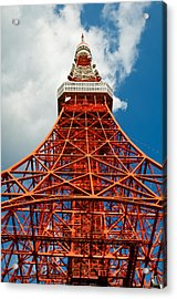 Tokyo Tower Face Cloudy Sky Acrylic Print by Ulrich Schade