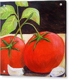 Tomato Basil And Garlic Acrylic Print by Pauline Ross