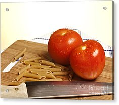 Tomatoes Pasta And Knife Acrylic Print by Blink Images