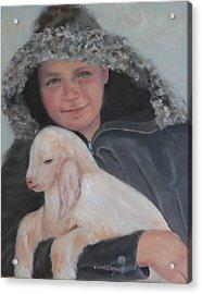 Tony With A Baby Goat Acrylic Print by Carol Berning