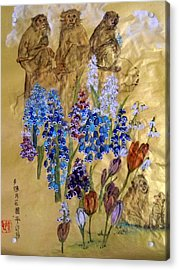 Acrylic Print featuring the painting Too Many Monkeys In The Garden by Debbi Saccomanno Chan